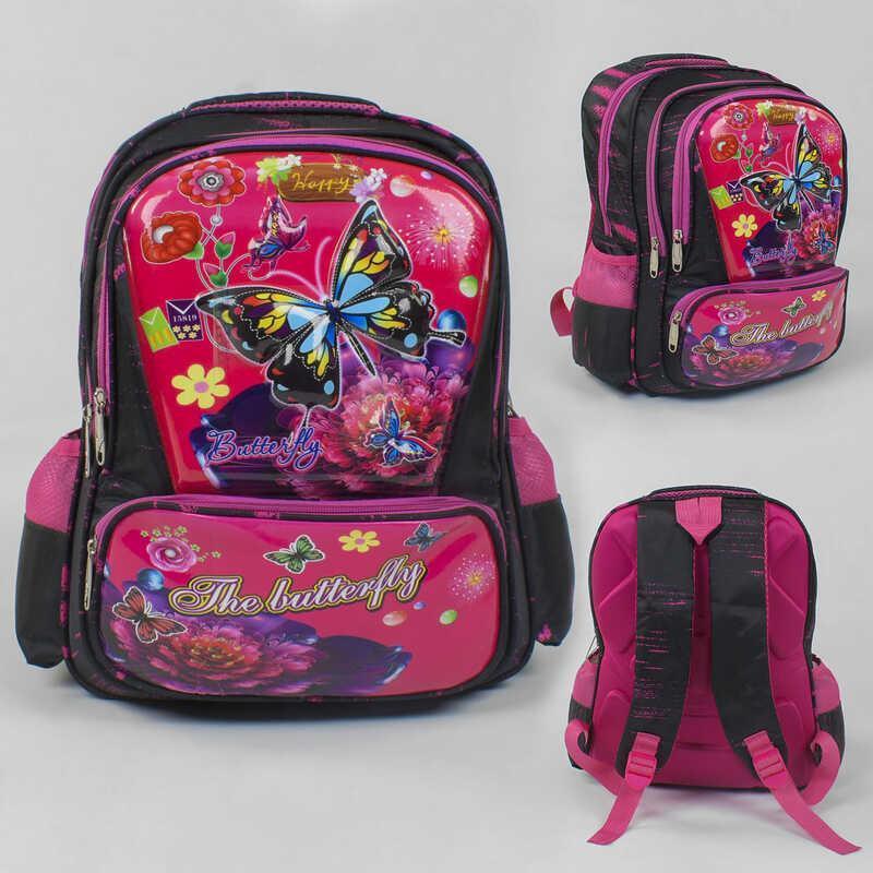 Рюкзак школьный C 43504 (50) БАБОЧКИ ЦВЕТ ЧЁРНО-РОЗОВЫЙ, 3D принт, 1 отделение, 2 кармана, ортопедическая