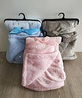 Одеяло плед детский 100х75 см Королевский флис с овчиной Одіяло дитяче