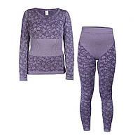 Жіноча термобілизна Фіолетова, зимова термобілизна для жінок для повсякденного носіння з доставкою, фото 1