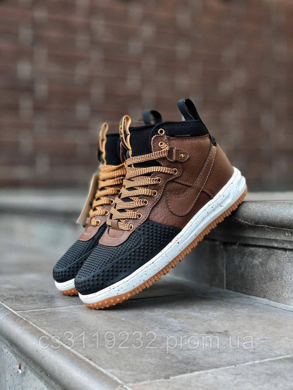 Мужские кроссовки Nike Lunar Force 1 Duckboot 16 (черно-бежевые)