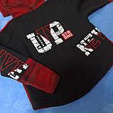Модная рубашка теплая для мальчика с капюшоном в клеточку., фото 2