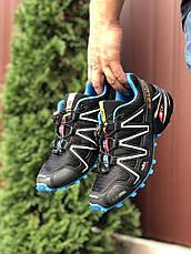Кросівки чоловічі для бігу і залу Salomon Speedcross 3,чорно-білі з синім, фото 2