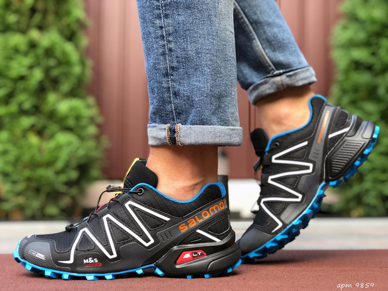 Кросівки чоловічі для бігу і залу Salomon Speedcross 3,чорно-білі з синім