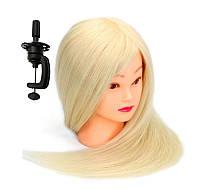 Голова для причесок с натуральными белыми волосами