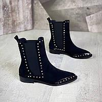 Замшевые ботинки с заклёпками на низком ходу 36-40 р чёрный, фото 1