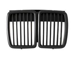 BMW 3 E30 82-94 решетка между фарами (ноздри) левая + правая комплект. ЧЕРНЫЙ МАТОВЫЙ, арт. DA-9158