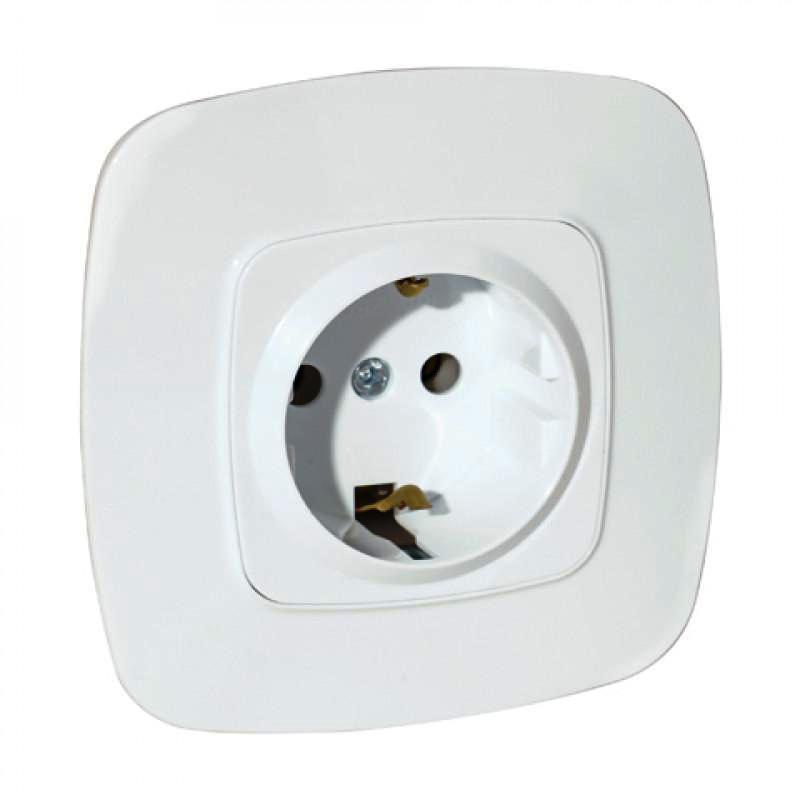 Розетка з заземлением одинарная белая Ela Horoz Electric 112-007-0006-010