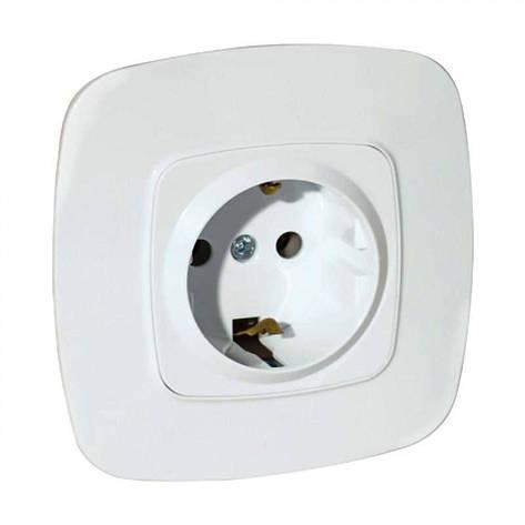 Розетка з заземлением одинарная белая Ela Horoz Electric 112-007-0006-010, фото 2