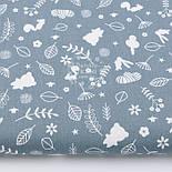 """Лоскут ткани """"Зайчики, мишки и веточки"""" белые на графитовом фоне  (№ 2944), размер 19*160 см, фото 2"""