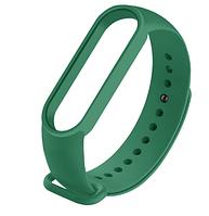 Силиконовый тёмно-зелёный ремешок на фитнес трекер Xiaomi mi band 5 браслет аксессуар замена