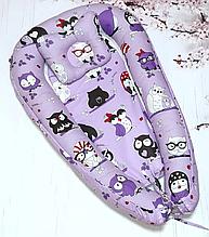 Дитяче гніздечко-позиціонер для новородженных з ортопедичною подушкою Мікс кольорів