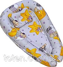 Детское гнездышко-позиционер для новородженных с ортопедической подушкой Мишка на Луне