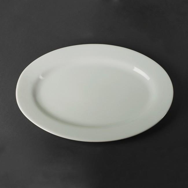 Блюдо фарфоровое белое овальное (селедочница) 340х460мм.