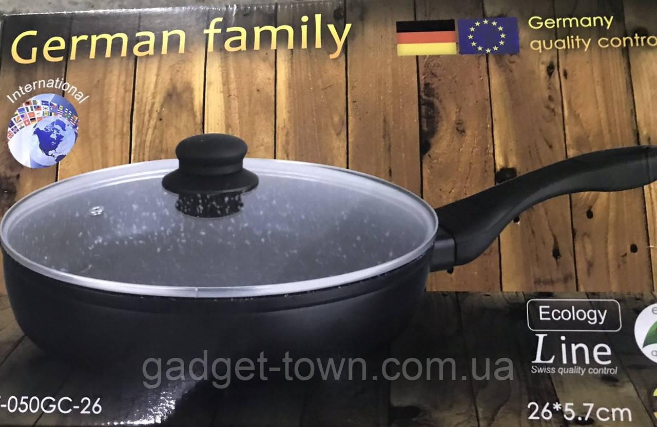 Сковорода German Family з гранітним покриттям і кришкою 28*5.7 см