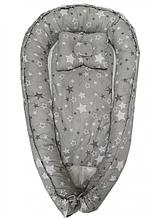 Детское гнездышко-позиционер для новородженных с ортопедической подушкой Серые звезды
