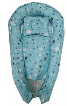 Детское гнездышко-позиционер для новородженных с ортопедической подушкой Голубые звезды