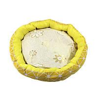 Лежак для котов собак Taotaopets 511101-01 L Yellow круглый лежанка домашних животных