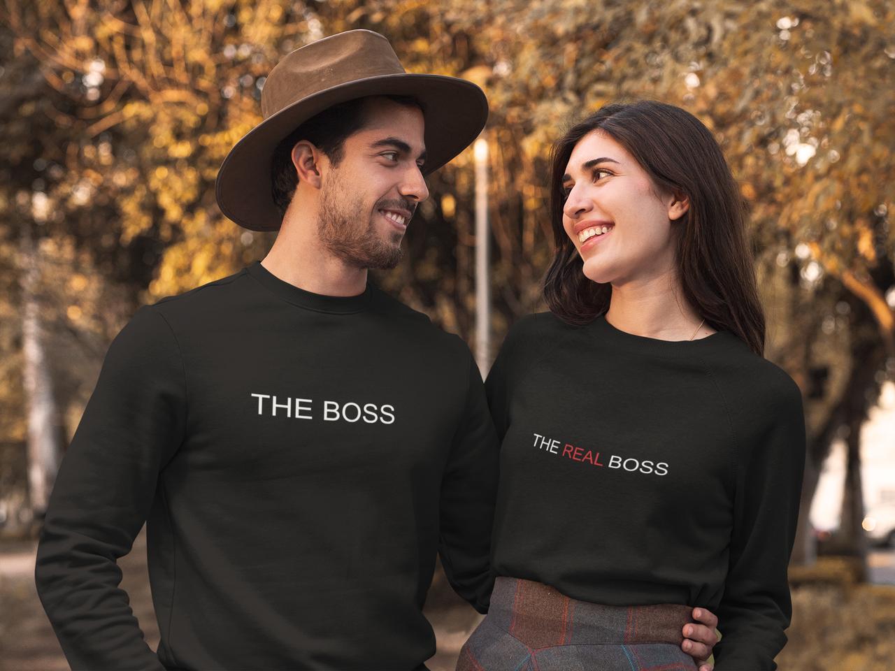 """Парные свитшоты с принтом  """"The real boss"""""""