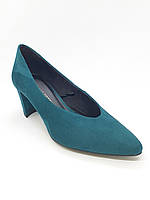 Женские туфли на низком каблуке бирюзовая замша