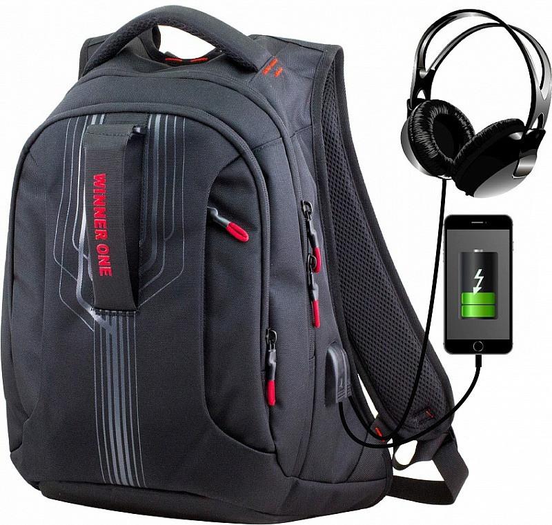 Рюкзак шкільний для хлопчика з USB підлітковий Winner One 399-19R