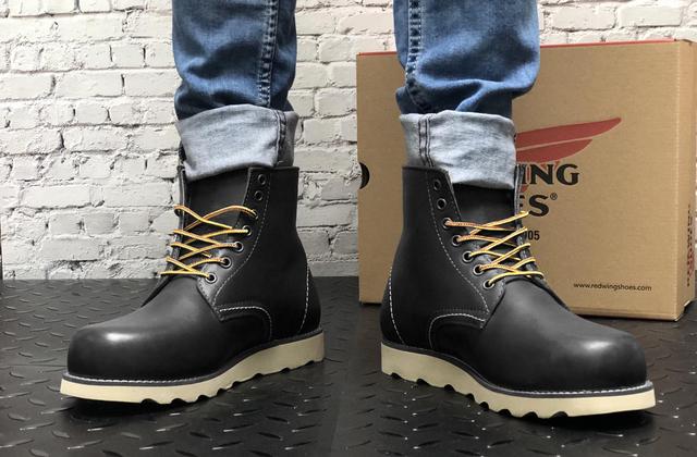шкіряні черевики Red Wing USA black чорні 8424890 на нозі