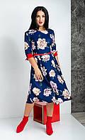 Платье синего цвета длиной миди и рукавом три четверти принт роза, фото 1