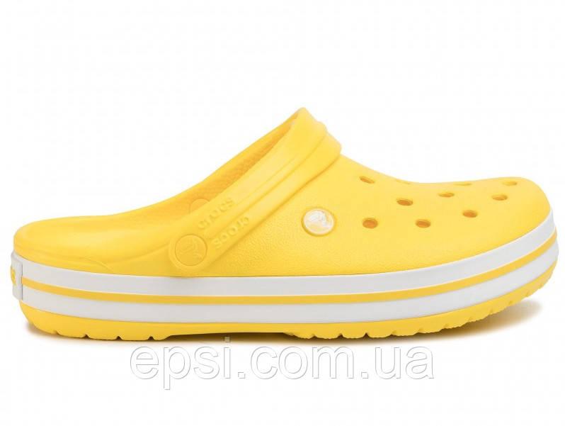 Сабо (кроксы) Crocs Crocband Lemon/White (Лимонный) M5W7 37