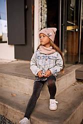 Шапка и хомут на девочек подкладка флис р52-54. 5шт упаковка