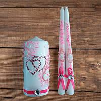 """Свадебные свечи """"Семейный очаг"""" в ярко-розовых тонах (арт. WC-003-1)"""