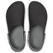 Сабо (кроксы) Crocs LiteRide Clog Black/Smoke ( Черный / Дымчатый ) M5W7 37, фото 4
