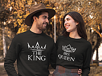"""Парные свитшоты с принтом """"Короны King / Queen"""""""
