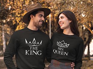 """Парні світшоти з принтом """" Корони King / Queen 2"""""""