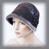 """Женская шапка из замши """"Поля вниз (коричневая)"""