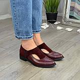 Женские бордовые туфли с острым носком на низком ходу, натуральная кожа и замша., фото 2