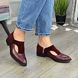 Женские бордовые туфли с острым носком на низком ходу, натуральная кожа и замша., фото 3