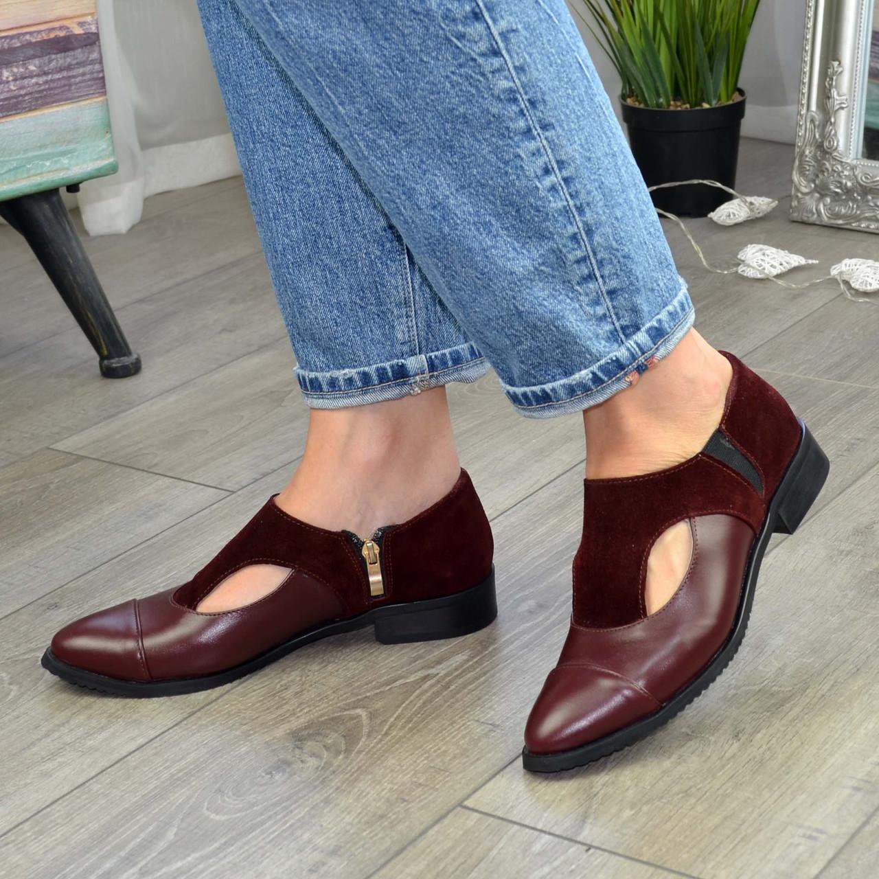 Женские бордовые туфли с острым носком на низком ходу, натуральная кожа и замша.