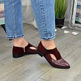 Женские бордовые туфли с острым носком на низком ходу, натуральная кожа и замша., фото 4