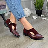 Женские бордовые туфли с острым носком на низком ходу, натуральная кожа и замша., фото 6