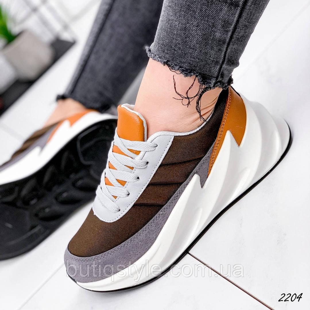 Женские кроссовки коричневый + серый  эко-замша+неоппрен