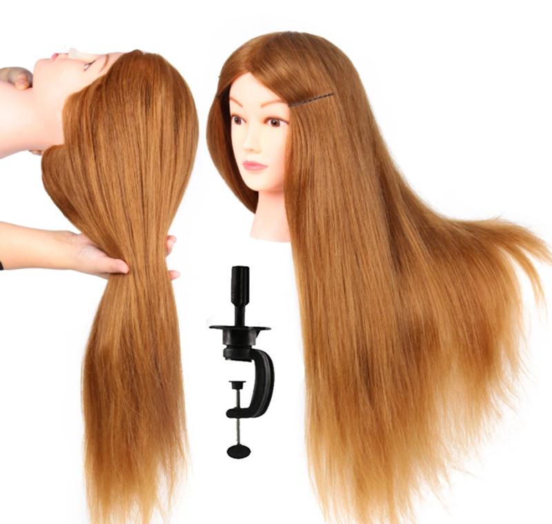 Голова для причесок с натуральными русыми волосами