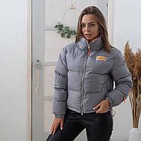 Коротка жіноча куртка сірого кольору Fashion (9235) без капюшона з яскравою помаранчевою підкладкою M
