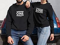 """Парные свитшоты с принтом """" ONE / LOVE"""""""