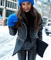 Трендовая дубленка - куртка с молниями женская черная