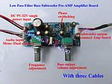 Активный НЧ фильтр для сабвуфера, регулировка частоты среза, уровня громкости, предусилитель кроссовер NE5532, фото 3