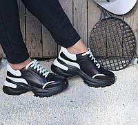Кроссовки женские натуральная кожа черные