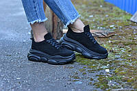 Кроссовки женские, натуральная замша черные