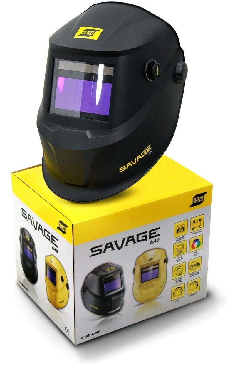 Сварочная маска хамелион  SAVAGE A40 Black со сменной батареей ESAB