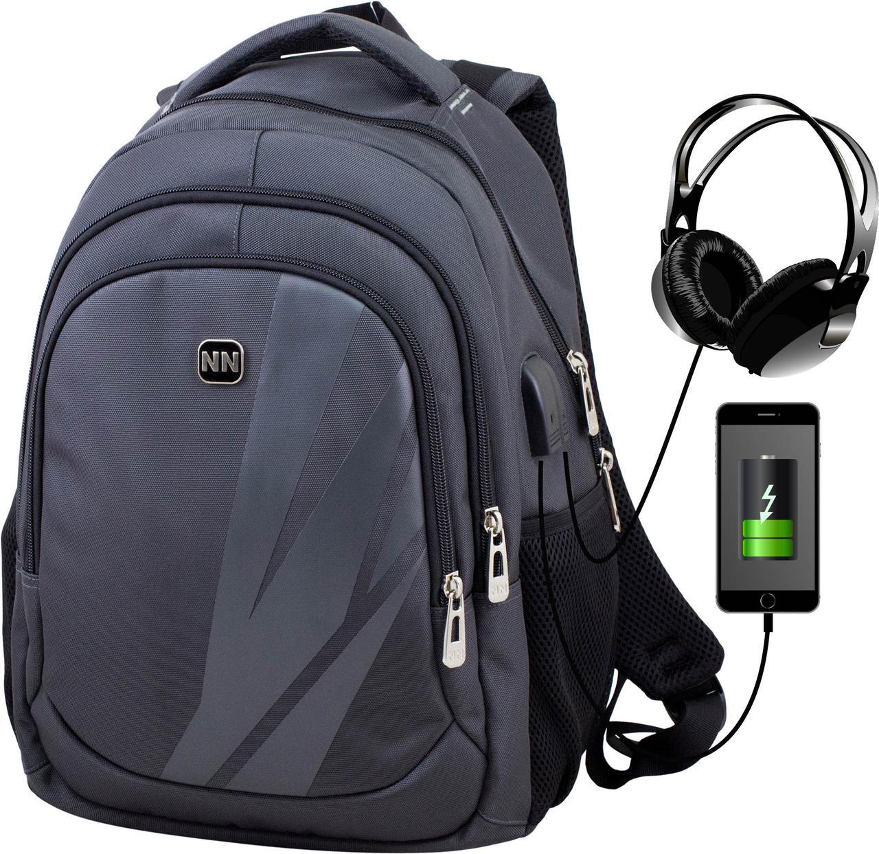 Рюкзак шкільний з USB підлітковий чоловічий Winner One 405-2
