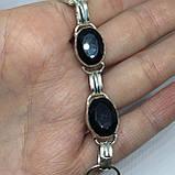 Черный оникс браслет с черным ониксом в серебре Индия, фото 2