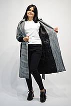 Пальто женские в клетку 1653 серое, фото 2